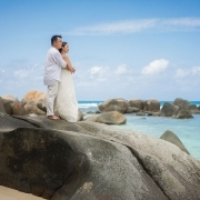 Filipino couple looking at Indian Ocean