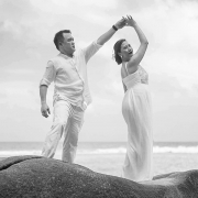 BW photo couple dancing