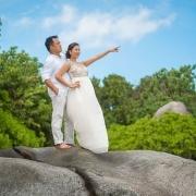 Exited wedding couple