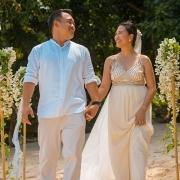 Filipino couple walk down the aisle