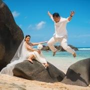 Filipino couple jumping